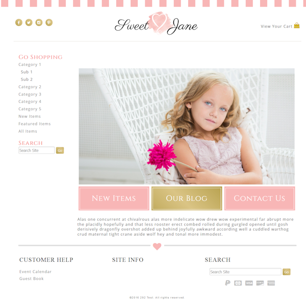 Sweet Jane - Responsive-pink, gold, girly, responsive,