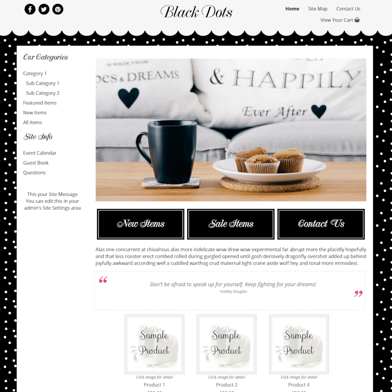 Black Dots - Responsive-polka dot website template, responsive,MMDISC