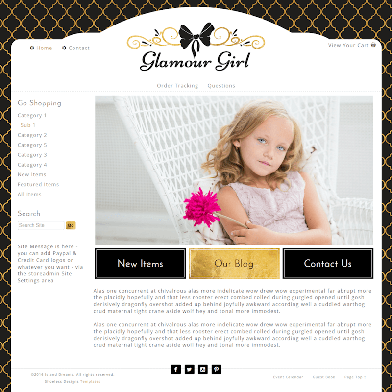 Glamour Girl - Responsive-black, gold, girly, responsive,