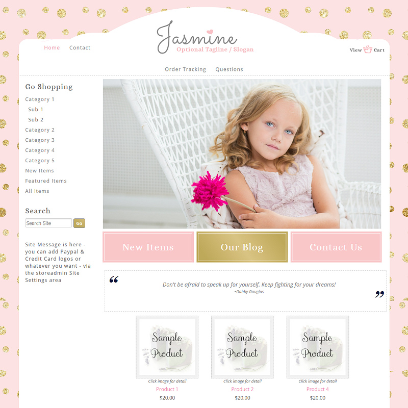 Jasmine - Responsive-pink, gold, girly, responsive, polka dots