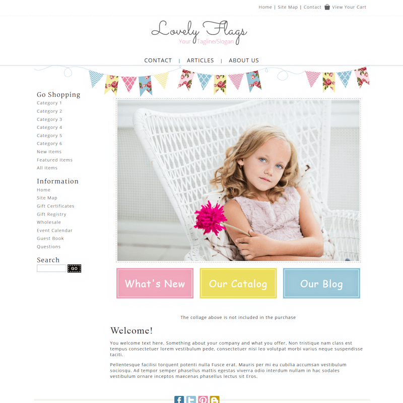 Lovely Flags - Responsive-pink, girly, banners, bunting, responsive,