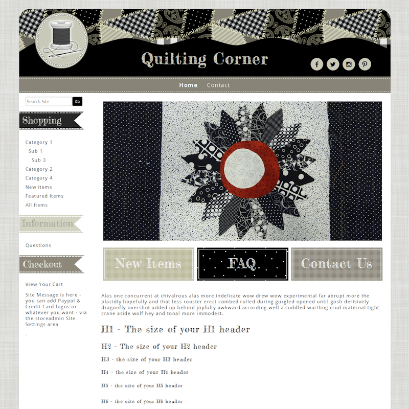Quilting Corner - Responsive-sewing or applique website template black, taupe, responsive, quilter