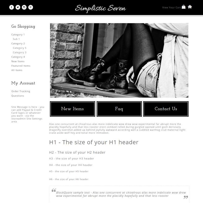 Simplistic Seven - Responsive-black, white, basic, plain, responsive, masculine, clean,  elegant, classy, modern, professional