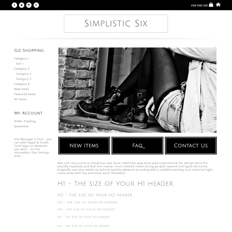 Simplistic Six - Responsive-Mobile Responsive Boutique Website Template black, white, basic, simple, masculine, clean,  elegant, classy, modern, professional