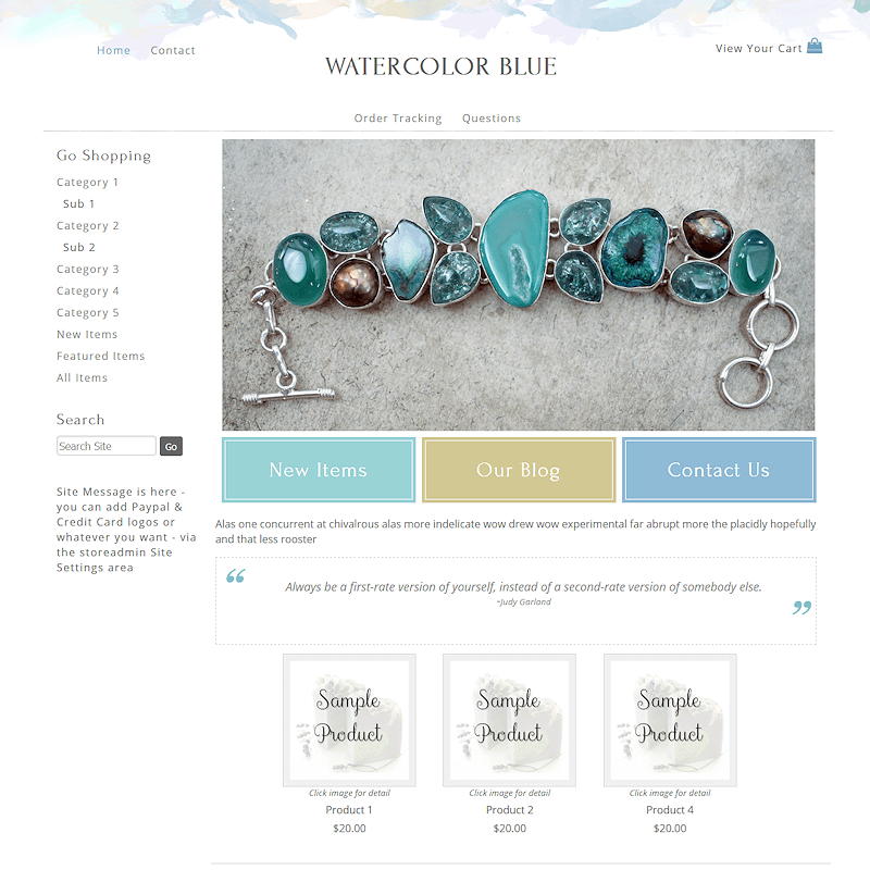 Watercolor Blue - Responsive-blue, green, responsive,
