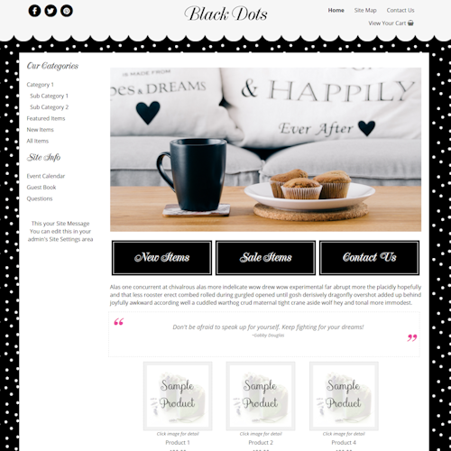 Black Dots - Responsive-polka dot website template, responsive
