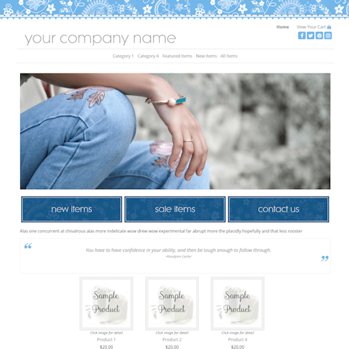 Classy Blue Full Width- responsive, blue, white, floral